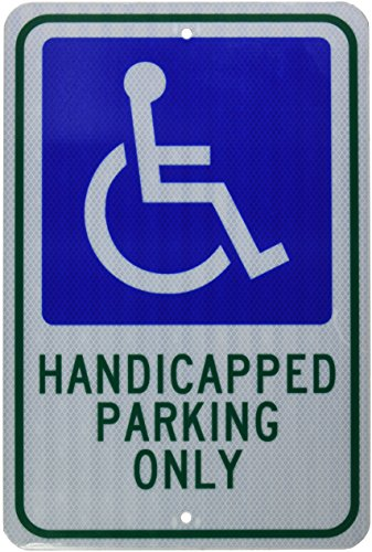 (NMC TM145J Handicap Parking Sign, Legend HANDICAPPED PARKING ONLY with Graphic, 12