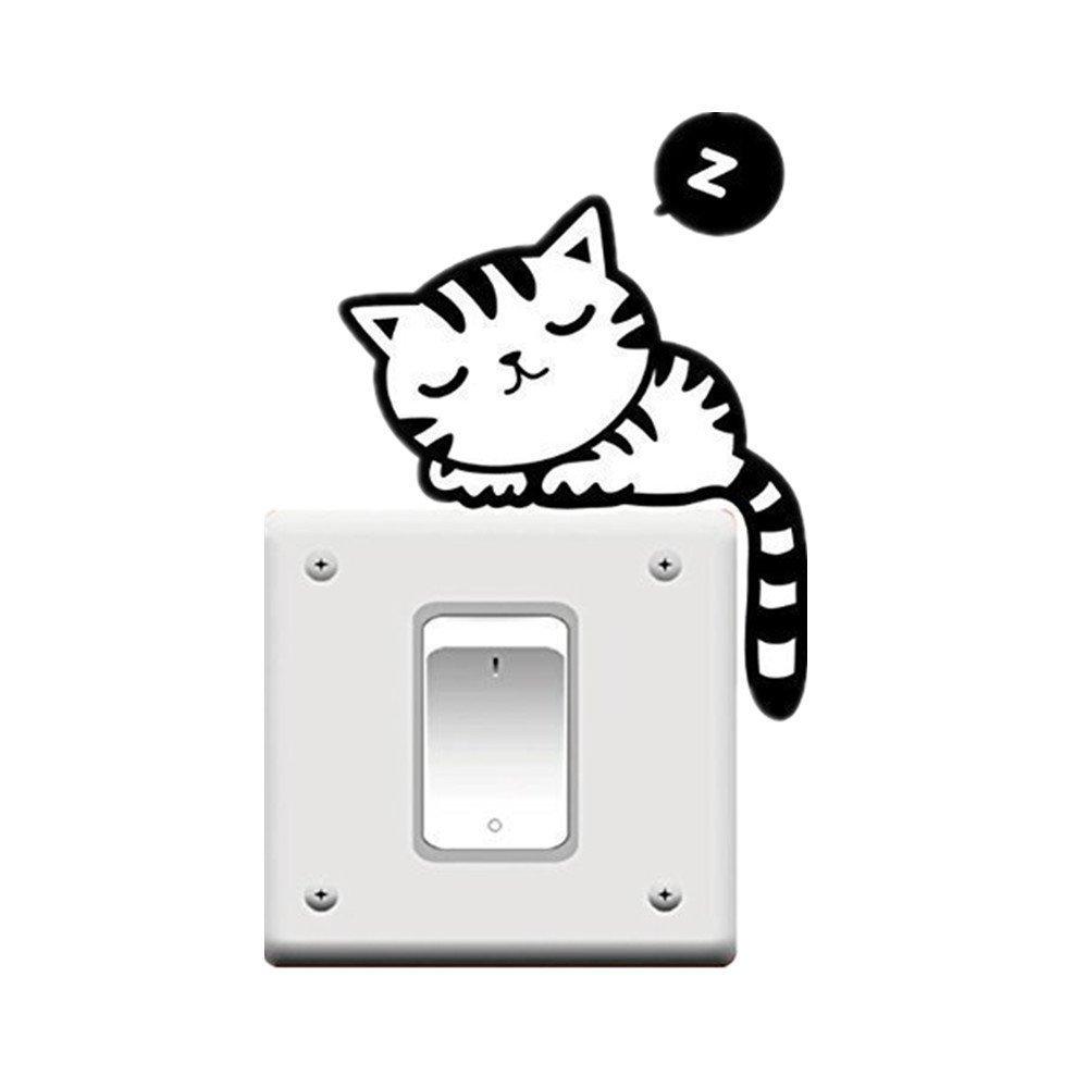 Romote leader stella modo poco costoso nero sveglio Cat Nap animali Luce Interruttore divertente Sticker murale degli autoadesivi del vinile