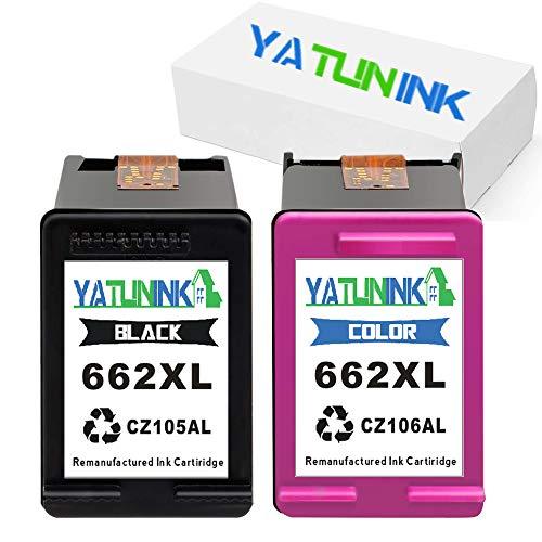 YATUNINK Remanufactured Ink Cartridge Replacement for HP 662XL Black 662XL Color CZ105AL CZ106AL Fit Deskjet Ink Advantage Series Printers (1 Black & 1 Tri-Color) ()