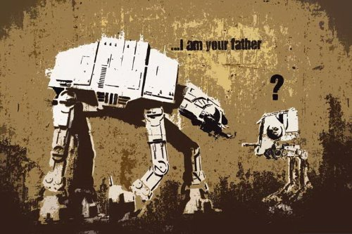 Banksy (Reproduction) Robots I am Your Father Pop Art Mini PAPER Poster Measures 23.5