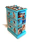 Beach Jewelry Box with Polymer Clay Seashells and Decoupage Travel Posters