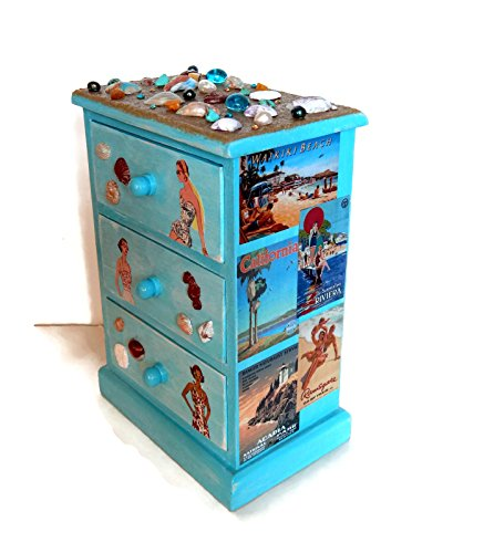 Beach Jewelry Box with Polymer Clay Seashells and Decoupage Travel Posters by Scrappy Studio Gals