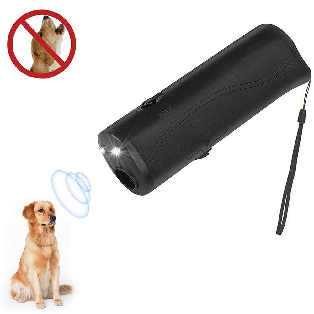 Anskr Ultrasonic Portable Dog Repeller, 3 in 1 Pet Training Device Stop Barking, Anti Barking, LED Handheld Dog Trainer Device Outdoor Bark Controller,Harmless for Training Dogs-Black