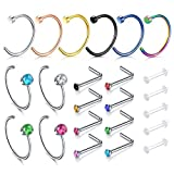 Zolure Nose Rings Hoop Surgical Steel Nose Studs L Shape 20 Gauge Piercing Jewellery 17PCS