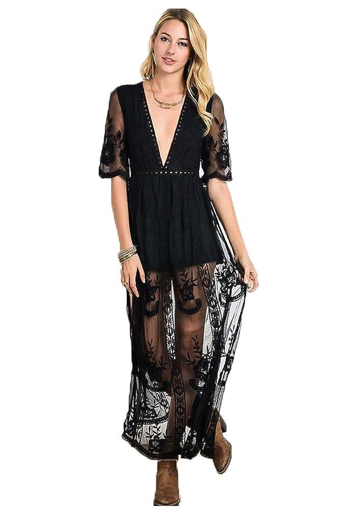 1b2bcb44d11 Eleter Women s Deep V-Neck Lace Romper Short Sleeve Long Dress at Amazon  Women s Clothing store