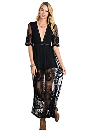 ef76811e902 Eleter Women s Deep V-Neck Lace Romper Short Sleeve Long Dress at ...