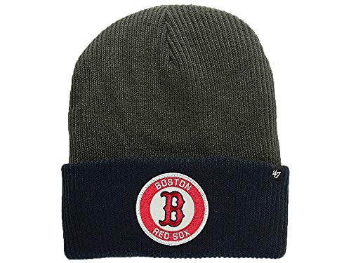 '47 Boston Red Sox 2-Tone Cuff Ice Block Beanie Hat - MLB Cuffed Winter Knit Toque Cap ()
