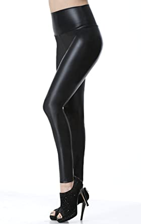 4877360fee7861 Everbellus Faux Leather Leggings Women High Waist Skinny Leather Pants  Black Small