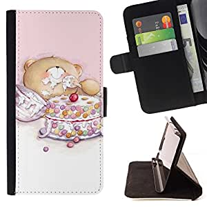 For Samsung Galaxy Note 4 IV Cute Teddy Bear Cake Beautiful Print Wallet Leather Case Cover With Credit Card Slots And Stand Function