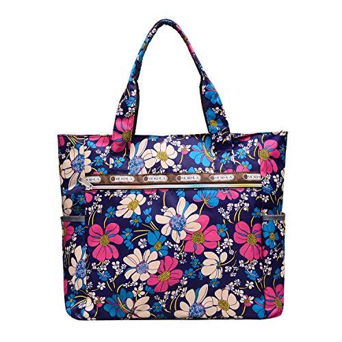(Nylon Large Lightweight Tote Bag Shoulder Bag for Gym Hiking Picnic Travel Beach Waterproof Tote)