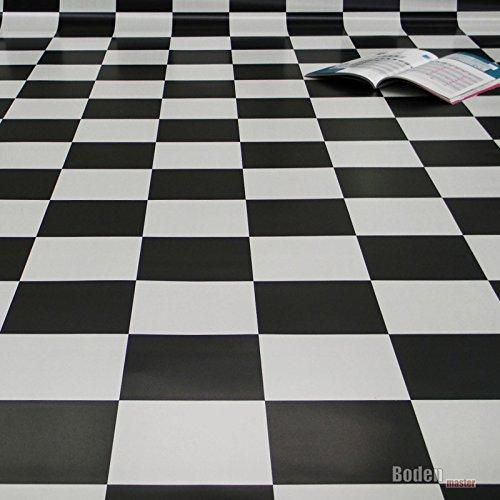 PVC Bodenbelag Schachbrett Schwarz Weiß Breite 2 m (8,95 € p. m²)