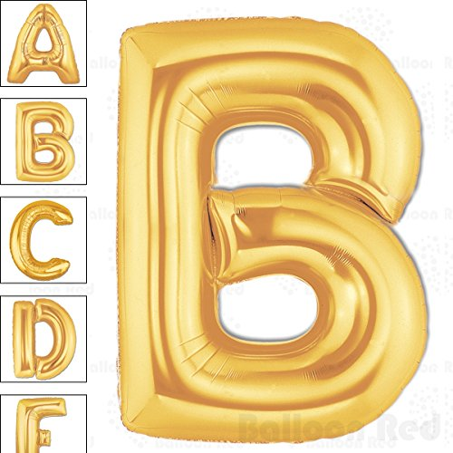 40 Inch Giant Jumbo Helium Foil Mylar Balloons for Party Decorations (Premium Quality), Matte Gold, Letter B