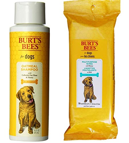 Burt's Bees for Dogs Dry Skin Shampoo with Wipes Grooming Bundle, 1 Each: Oatmeal Shampoo with Colloidal Oat Flour & Honey (16 Oz.) and Multipurpose Wipes