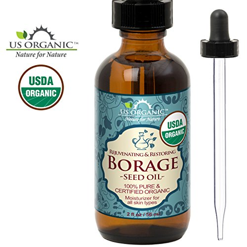 US Organic Borage seed Oil (18% GLA), USDA Certified Organic, 100% Pure & Natural, Cold Pressed, aka Starflower oil, in Amber Glass Bottle w/Glass Eye dropper for Easy Application (2 oz (56 ml)) ()