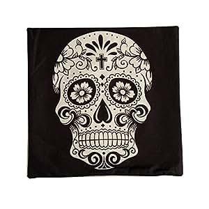 T 'aimer algodón Lino Espacio Halloween decorativa Sofá almohada funda de cojín cojín (45x 45cm–Cruz Flores Cráneo Calavera (Negro)