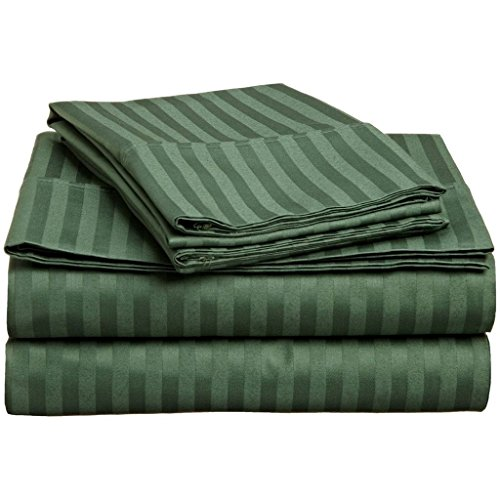 100% Premium Combed Cotton, 4-Piece Bed Sheet Set, Deep Pocket, Single Ply, Sateen Stripe, Queen - Hunter Green