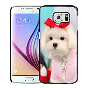 Unique Designed Cover Case For Samsung Galaxy S6 With Cute Puppy with Red Bow Phone Case Cover