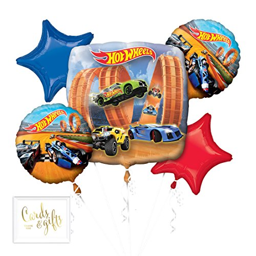 Andaz Press Balloon Bouquet Party Kit with Gold Cards & Gifts Sign, Hot Wheel Racer Foil Mylar Balloon Decorations, 1-Set]()