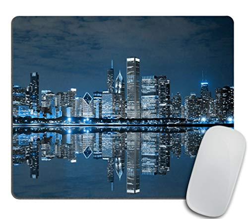 Gaming Mouse Pad Custom Design,Chicago Skyline Mouse pad City Print Photo Rectangle Non-Slip Rubber Mousepad 9.5 X 7.9 Inch (240mmX200mmX3mm)