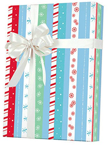 RED AQUA BLUE POLKA DOT SNOWFLAKE STRIPES Christmas Gift Wrap Paper - 16 Foot Roll