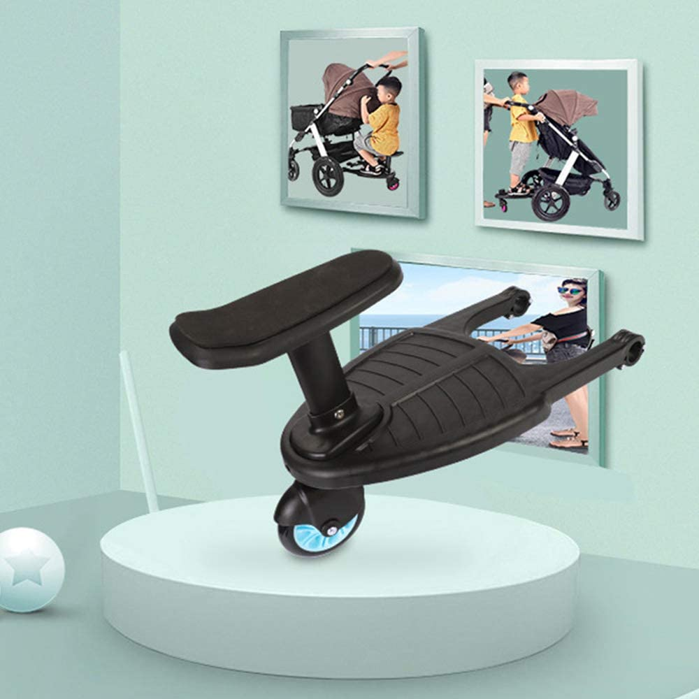 Child Standing Buggy Board with Seat Removable and Assembling Plate Sitting Seat 33x25cm SZFREE Baby Stroller Auxiliary Pedal