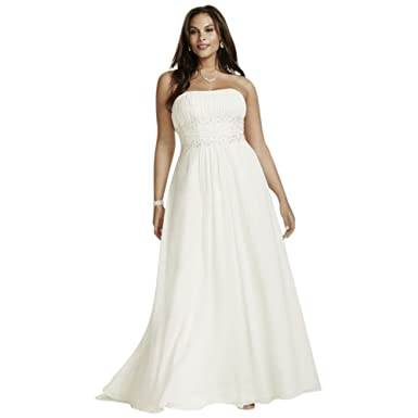 David\'s Bridal Chiffon Empire Waist Plus Size Wedding Dress Style ...