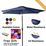 Cheap Grand patio 9FT Aluminum Patio Umbrella, UV Protective Beach Umbrella with Easy Crank Mechanism, Powder Coated Outdoor Umbrella, Blue