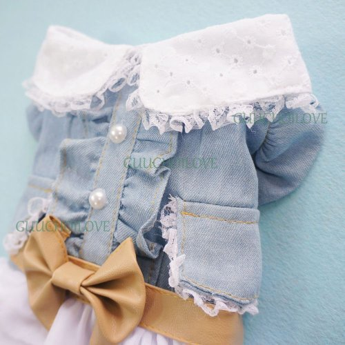 Image of SMALLLEE_LUCKY_STORE Fairy Denim Dog Dress for Dog Clothes Charming Cozy Dog Shirt Pet Dress L