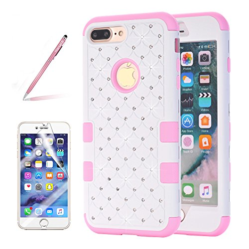 Pink White Rhinestone (iPhone 8 Plus Bling case, Harsel [Shock Absorption] Ultra Slim Fit Studded Rhinestone Bling Glitter High Impact Resistant Rugged Hybrid Armor Defender Case Cover For iPhone 7 / 8 Plus (White Pink))