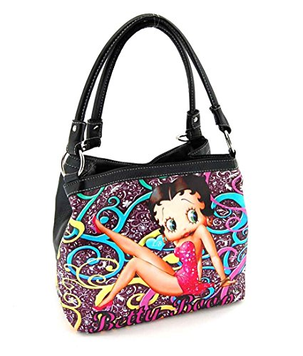 Betty Boop, BP2083BK, Medium Handbag, Two Way Shoulder Bag, Black