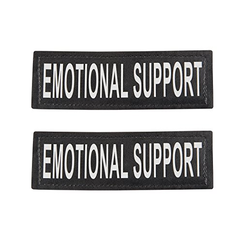 Industrial Puppy Emotional Support Dog Patch with Hook Back and Reflective Lettering for ESA Animal Vest, Harness, or Collar - Set of Two Patches for Emotional Support Dog Vest