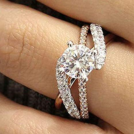 Size 7 MAIHAO New Princess Square Simulation Diamond Ring Double-Layer Super-Flash Zircon Ring in 925 Sterling Silve Cubic Zirconia Promise Halo Engagement Wedding Band Ring for Women Size 6-10