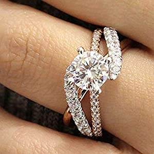 Metmejiao 18K Rose Gold Plated CZ Crystal Square Simulated Diamond Engagement Ring Promise Rings for Women (7)