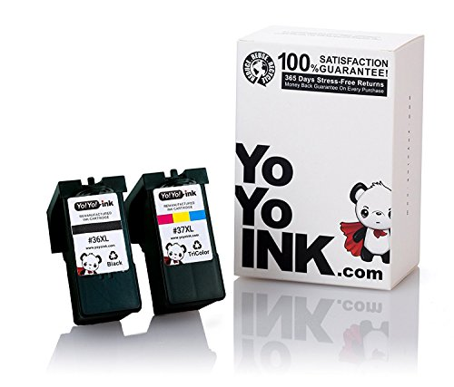 YoYoInk 2 Pack Remanufactured Ink Cartridge Replacement for Lexmark 36XL & 37XL (1 Black 1 Color) for X3650 X4650 X5650 X6650 X6675 AIO Z2420