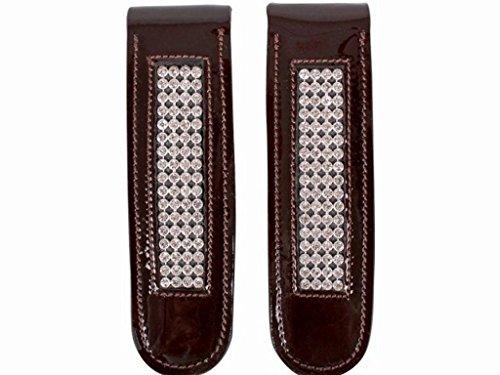 Strass Ornamenten Reitstiefel mit Stiefelclip oder Braun schwarz Leder Accessoires braun axIRqBP