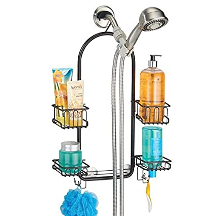 Amazon.com: mDesign Bathroom Adjustable Shower Caddy for Tall ...