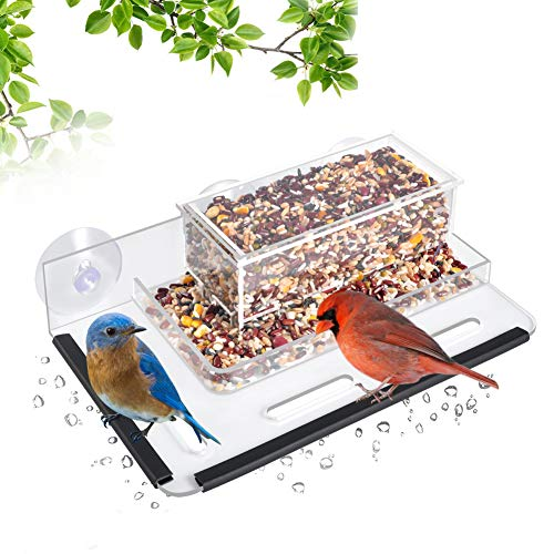 - HHXRISE Acrylic Bird Feeder with Strong Suction Cups & Seed Tray,Window Outdoor Birdfeeders with Special Designed Flower Pot Base and Large Standing Perch