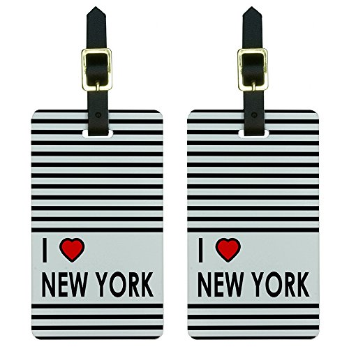 I Love Heart New York Horizontal Stripes Luggage Tags Suitcase ID Set of 2