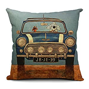 Throw Pillows Kmart : Amazon.com: Chicozy Cartoon animal puppies dog car jeep blue Pillow covers Pillow case Cushion ...
