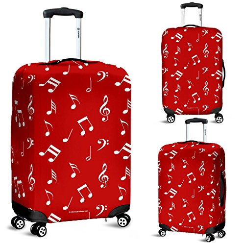 DealioHound Musical Notes Design #1 Red Rolling Travel Luggage Cover/Protector (Large 27-30 in / 67-76 cm)