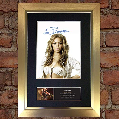 (#440 Beyonce No2 Signed Autograph Photo Reproduction Print A4 Rare Perfect Birthday (297 x 210mm) (Gold Frame))