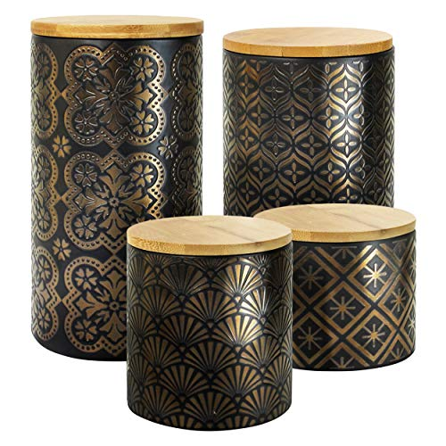 American Atelier Metallic Canister Set 4-Piece Ceramic Jars Chic Design with Lids for Cookies, Candy, Coffee, Flour, Sugar, Rice, Pasta, Cereal & More Gold and Black,