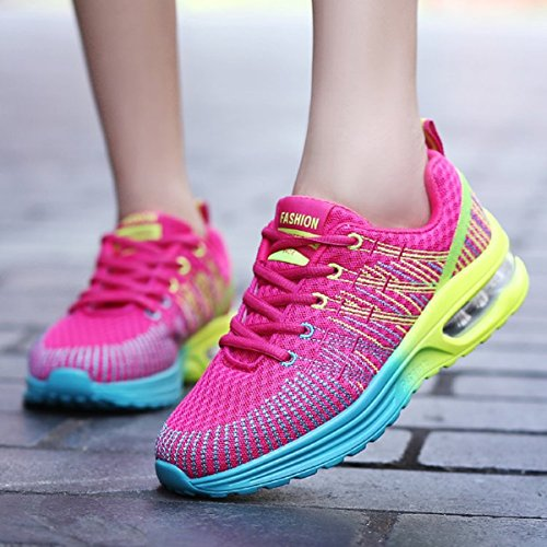 Homme Femme Chaussures de Running Sport Basket Respirante Travail Trail Sneakers Noir Rose Gris 35-46 3