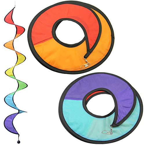 Quality Yes 2PCS 43.3 Inches Rainbow Wind Spinner Decoration Rainbow Colorful Hanging Curlie Spinner Wind Twister for Outdoor Indoor Decoration -
