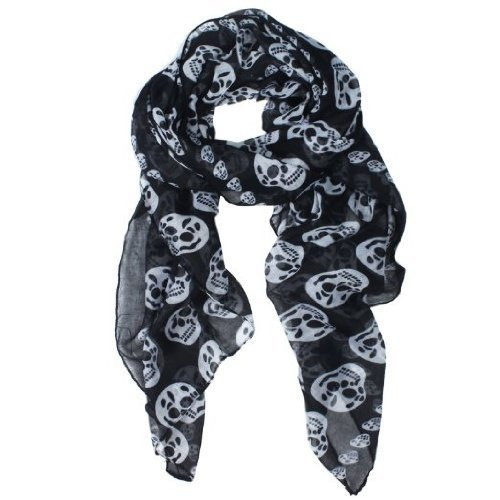 JOVANAS FASHION Punk Pirate Skull Chiffon Scarf (Fashion Pirate)