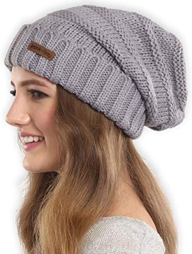 Brook + Bay Slouchy Cable Knit Cuff Beanie - Stay Warm & Stylish - Chunky, Oversized Slouch Beanie Hats for Women & Men - Serious Beanies for Serious Style