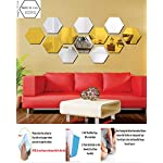 Wall1ders – 1Store 6 Silver 6 Golden Hexagon 3D Acrylic Mirror Stickers for Wall Stickers for Living Room, Hall, Home…
