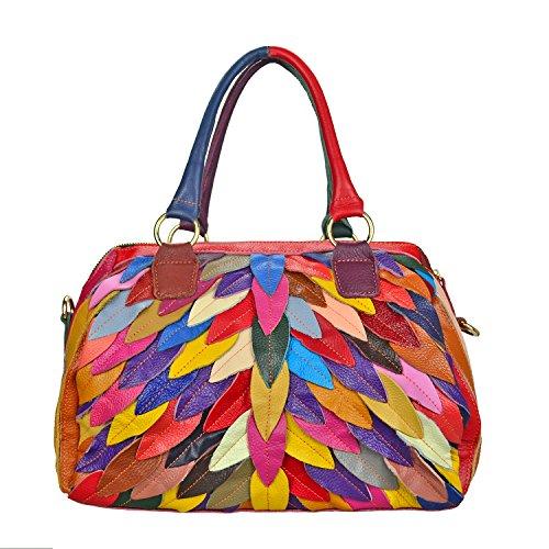 Sibalasi Women's Multicolor Boston Bag Colorful Tote Leather Bag Unique Genuine Leather Handbag Designer Purse (Leaves)