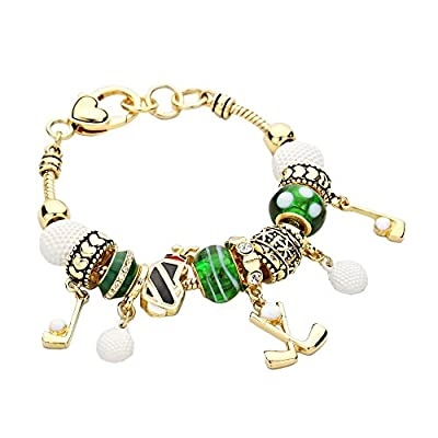 Rosemarie Collections Women's Sports Golf Theme Beaded Charm Bracelet