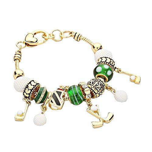 Golf Dangle Charm Bead Bracelet (Gold)